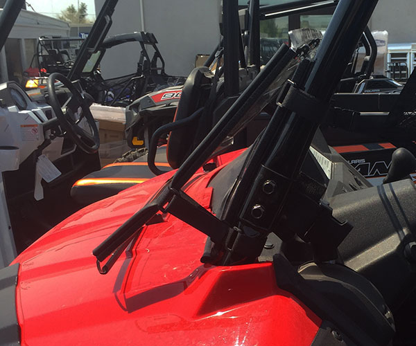 Honda Pioneer full tilt windshield in folded position