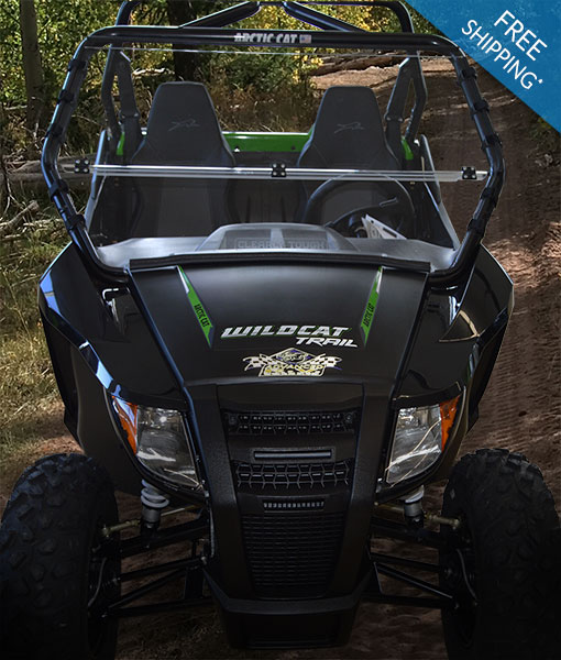 Arctic Cat Wildcat Trail Windshield - Full Folding Polycarbonate